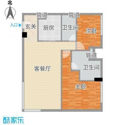 朗豪东港14.44㎡D栋1-4(1)户型2室2厅2卫1厨