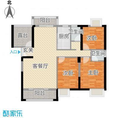 领秀御园126.00㎡J户型3室2厅2卫1厨