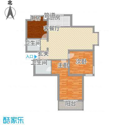 爱琴海11.00㎡一期1、2#楼D户型3室2厅2卫1厨