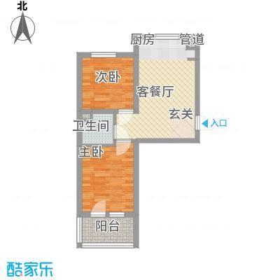 五岳溪谷58.26㎡2#A1户型2室1厅1卫1厨