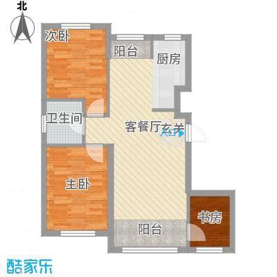 青国青城81.00㎡1号楼b户型3室2厅1卫1厨