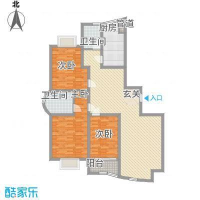 东方明珠148.52㎡二期高层4#F户型3室2厅2卫1厨