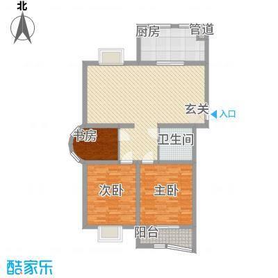 东方明珠124.30㎡D户型3室2厅1卫1厨
