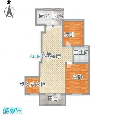 中体奥林匹克花园86.76㎡120号楼B户型2室2厅1卫1厨