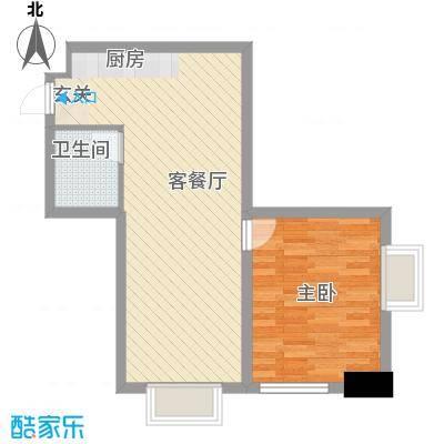 港汇中心63.76㎡1#楼D户型1室1厅1卫1厨