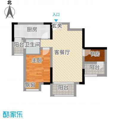 中昂星汇68.82㎡一期4/6/7号楼标准层A户型1室2厅1卫1厨