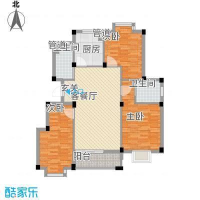 上湾117.00㎡领寓5#楼标准层E户型3室2厅2卫1厨