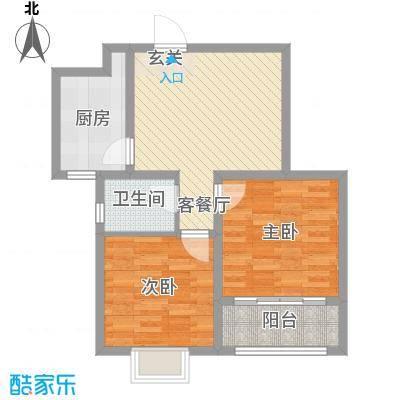 瑞珂沁园77.00㎡高层1/2/3/4号楼A户型2室1厅1卫1厨