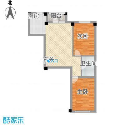 翰林苑81.00㎡B6号楼C1户型2室2厅1卫1厨