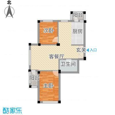 翰林苑75.00㎡B8号楼A2户型2室2厅1卫1厨