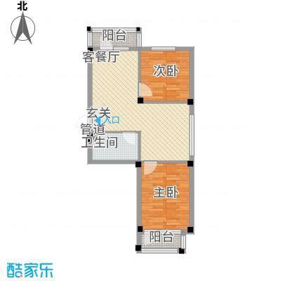 翰林苑72.00㎡A6号楼A户型2室2厅1卫1厨