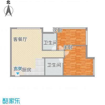 新世界名泷124.00㎡东塔A2户型2室2厅2卫1厨
