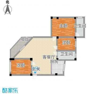 政荷苑134.50㎡A户型3室2厅2卫1厨