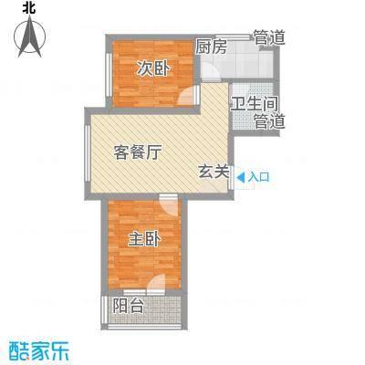 雷明锦程76.16㎡二期C户型2室1厅1卫