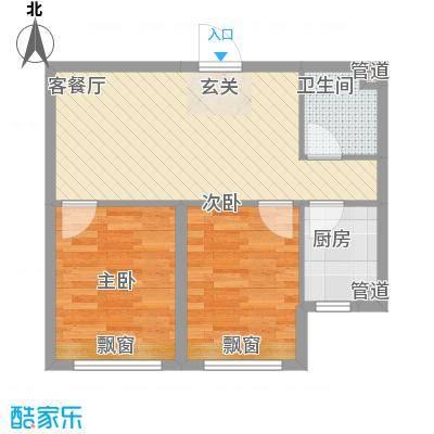 雷明锦程65.10㎡二期B户型2室1厅1卫