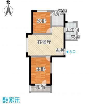 雷明锦程81.40㎡二期A1-6#-C户型2室1厅1卫