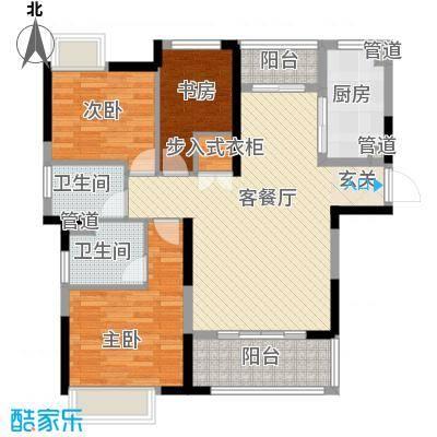 汉源国际丽城114.20㎡3号楼D2户型3室2厅2卫