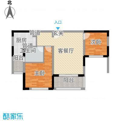 汉源国际丽城88.80㎡洋房F2户型2室2厅1卫