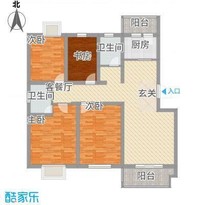 滨海桂冠128.00㎡一期多层1、2、3、4号楼A3户型4室2厅2卫1厨