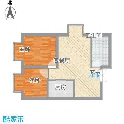 ATT・活力城64.28㎡10#楼A1户型2室2厅1卫1厨