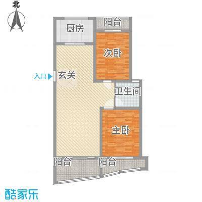 新富专家公寓123.00㎡高层住宅A户型2室2厅2卫1厨
