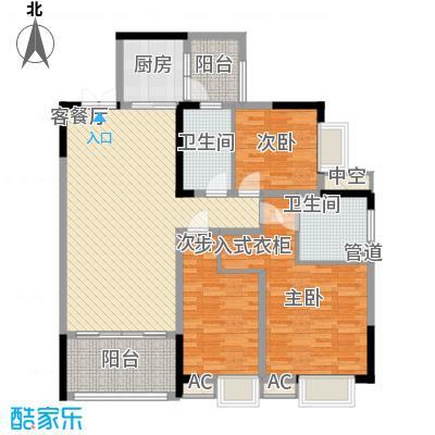 重庆佳程广场123.00㎡一期高层所有楼栋标准层B5户型3室2厅2卫1厨