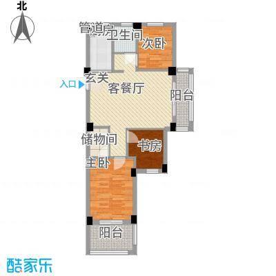 香槟水郡88.00㎡1#2-14层E户型3室1厅1卫1厨