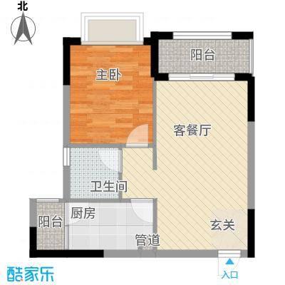 皇庭御珑湾54.00㎡B2户型1室2厅1卫1厨