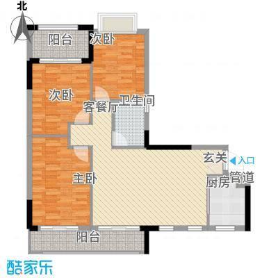 皇庭御珑湾13.00㎡B1户型3室2厅1卫1厨