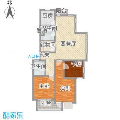 东江丽景138.00㎡E型户型3室2厅2卫1厨