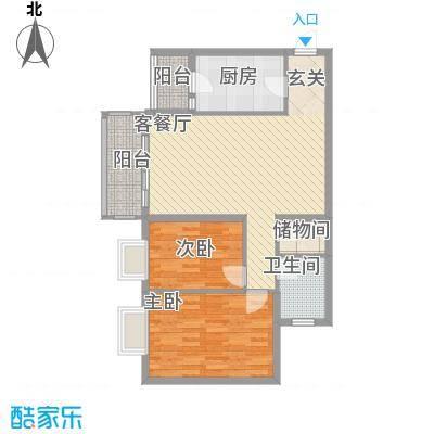 龙福花园75户型2室2厅1卫1厨