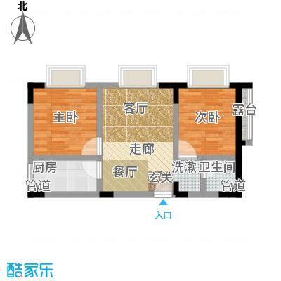 奇峰自由湾53.46㎡房型户型-副本
