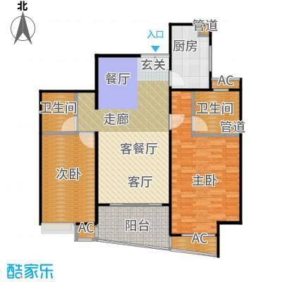 蓬莱家园(5号楼)93.79㎡房型: 二房; 面积段: 93.79 -110 平方米; 户型-副本