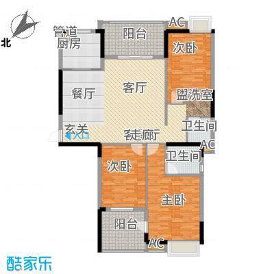 秦淮绿洲别墅139.00㎡三期小高层E3户型3室2厅2卫1厨-副本