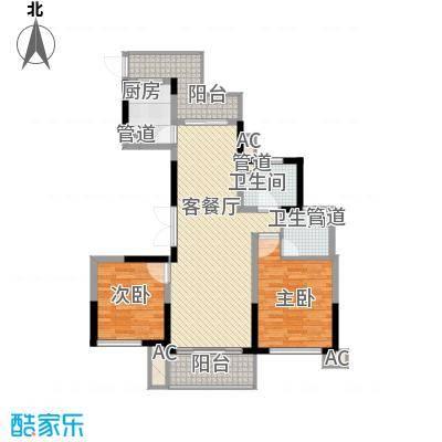 杰仕豪庭118.64㎡一期标准层A2户型2室2厅2卫1厨-副本