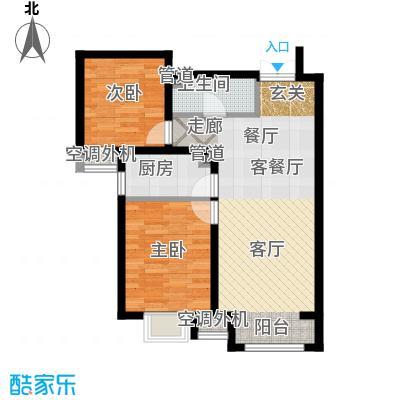 富地广场85.00㎡F2户型 两室两厅一卫户型2室2厅1卫-副本