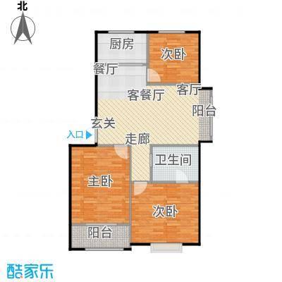 水岸名居90.86㎡10号楼1单元东户型 3室2厅1卫户型3室2厅1卫-副本