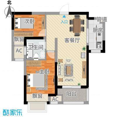 聚湖雅苑88.18㎡一期4-5#楼3-33层F户型2室2厅1卫1厨-副本