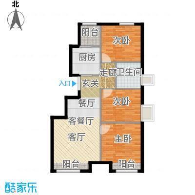 东亚・朗悦居82.00㎡B户型3室2厅1卫-副本