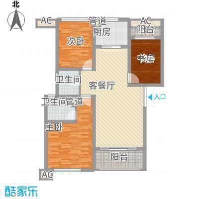 杰仕豪庭121.00㎡一期标准层B1户型3室2厅2卫1厨-副本