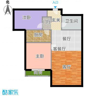张强-K2・玉�湾90.00㎡8号楼B3户型2室1厅1卫1厨