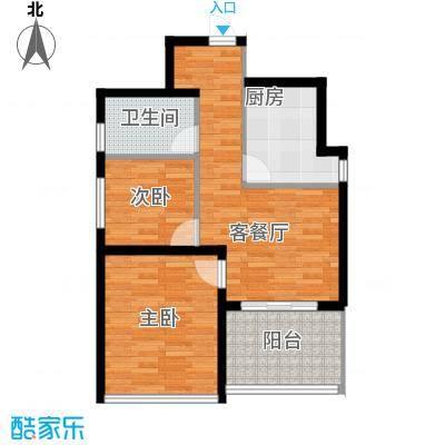 青春水岸74.76㎡A7476户型2室1厅1卫-副本