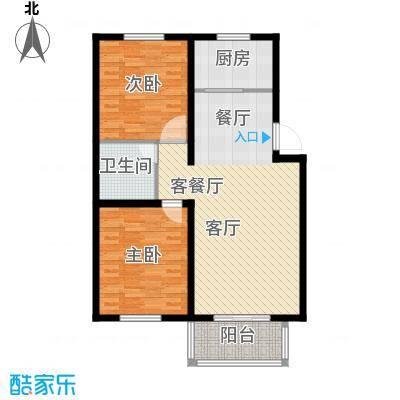 西部公馆89.79㎡A户型两室两厅一卫户型2室2厅1卫-副本