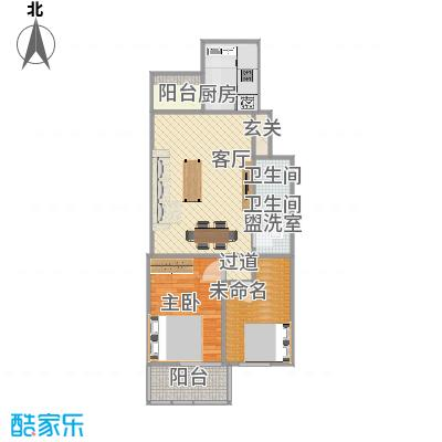 两室一厅的户型图