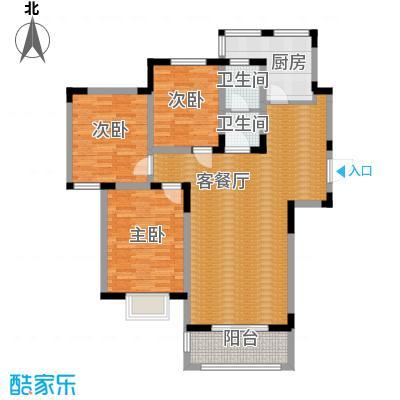 中航瑞祥花园125.87㎡C1户型3室2厅1卫-副本