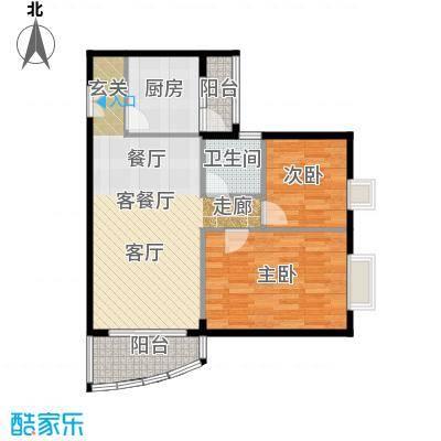 世纪新潮豪园71.93㎡标准层E户型2室1厅1卫1厨-副本