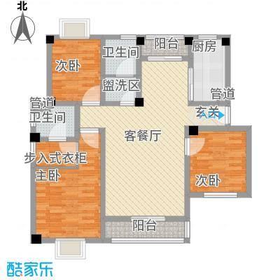 望湖名门123.00㎡D户型3室2厅2卫1厨