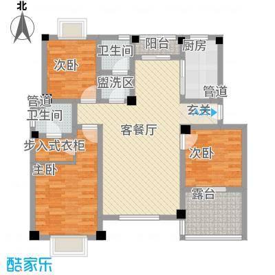 望湖名门123.00㎡C户型3室2厅2卫1厨
