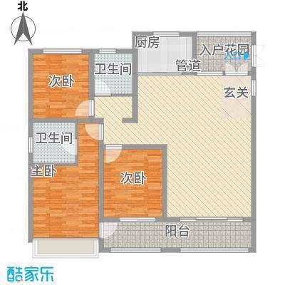 杭州湾世纪城143.70㎡香颂园E1#2#3#8#9#13#15#03户型3室2厅2卫1厨