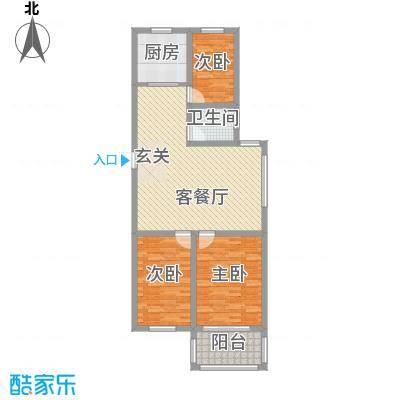润福家园114.00㎡二期高层C户型3室2厅1卫1厨